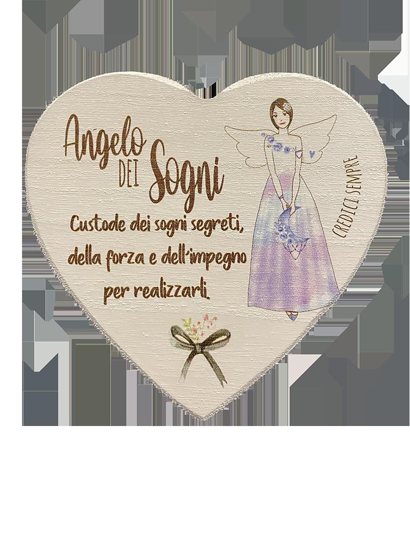 Regalo Angeli Legno profumato Cuore personalizzato